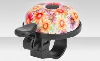 """Звонок 16R-05 """"Цветы"""" верх алюминиевый, основа пластик, чёрно-розовый"""