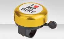 "Звонок 45AE-02 ""I love my bike"" верх алюминиевый, основа пластик, чёрно-золотистый"