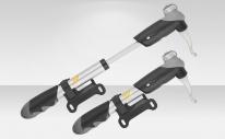 Насос GP-23D Giyo ручной, алюминиевый корпус, универсальный вентиль, двухходовой, с креплением к раме велосипеда, серо-чёрный