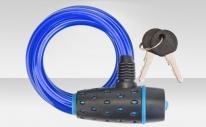 Трос-замок 87318 с ключом, со стальным тросом 8х1800 мм, синяя оболочка, чёрно-синий замок