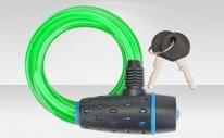Трос-замок 87318 с ключом, со стальным тросом 8х1800 мм, зелёная оболочка, чёрно-синий замок