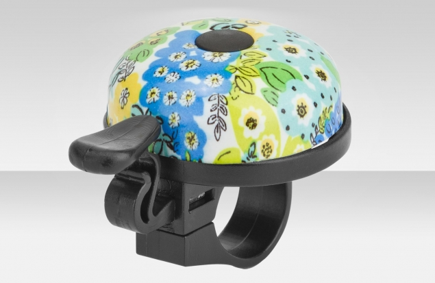 """Звонок 16R-06 """"Цветы"""" верх алюминиевый, основа пластик, чёрно-голубой"""