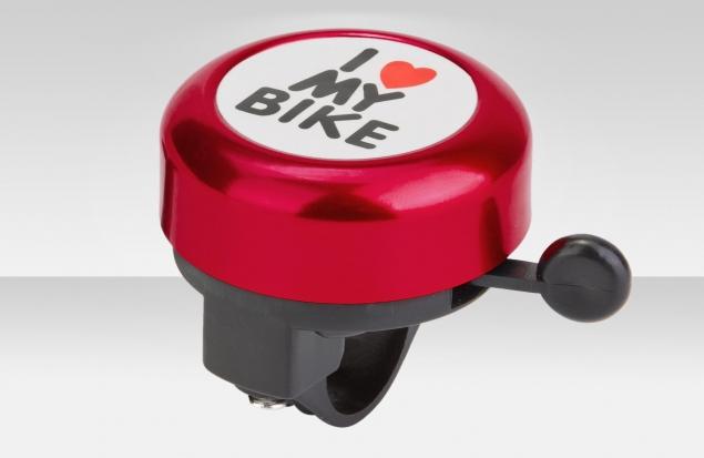 """Звонок 45AE-01 """"I love my bike"""" верх алюминиевый, основа пластик, чёрно-красный"""