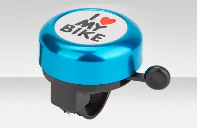 """Звонок 45AE-09 """"I love my bike"""" верх алюминиевый, основа пластик, чёрно-синий"""