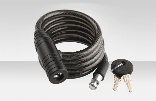 Трос-замок 87301, трос 12х1500 мм, диаметр 12 мм, замок с ключами, цвет черный