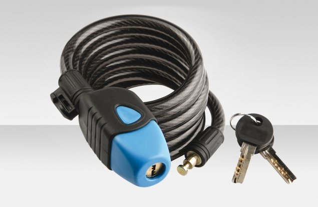 Трос-замок 87701, трос 10х1800 мм, замок с ключами, цвет чёрно-синий