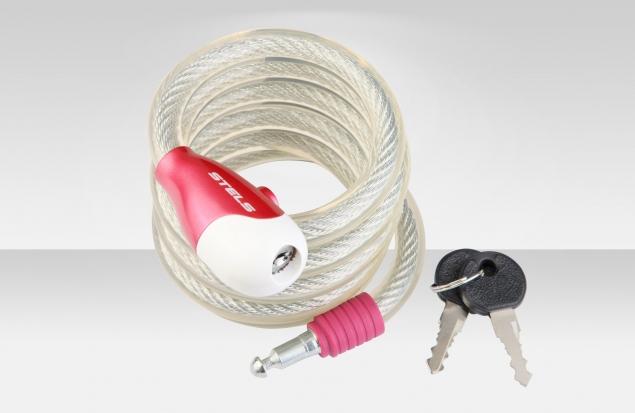 Трос-замок 87322, трос 15х1800 мм, замок с ключами, цвет троса стальной, цвет замка красный