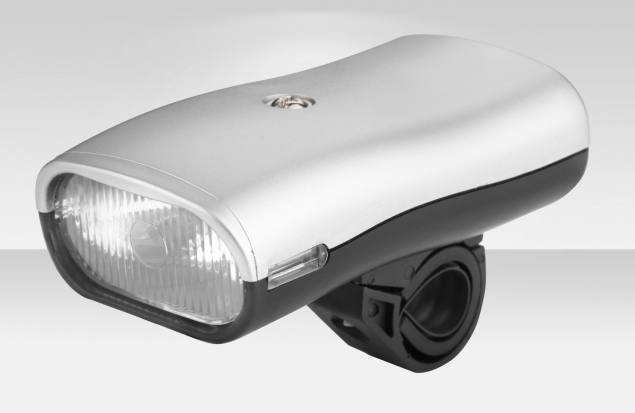 Фонарь JY-820 передний на руль, 3 лампочки накаливания, цвет серебристо-чёрный, под батарейки С2х2
