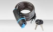 Трос-замок 87318, трос 8х1800 мм, замок с ключами, цвет чёрно-синий