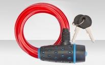 Трос-замок 87318 с ключом, со стальным тросом 8х1800 мм, красная оболочка, чёрно-синий замок