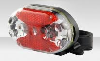 Фонарь задний JY-500T, 9 светодиодов, 3 режима работы, цвет прозрачно-красно-чёрный, материал пластик, под батарейки ААА