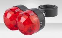 Фонарь задний JY-600T, 2 светодиода, 3 режима работы, цвет красно-чёрный, материал пластик, под батарейки АААх2
