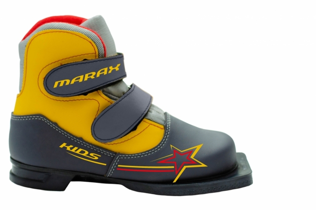 Ботинки лыжные 75 мм MARAX Kids (на липучке) СЕРО-ЖЕЛТЫЙ